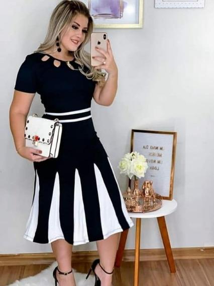 Vestido Feminino Midi Festa Preto Fardamento Moda Evangélica