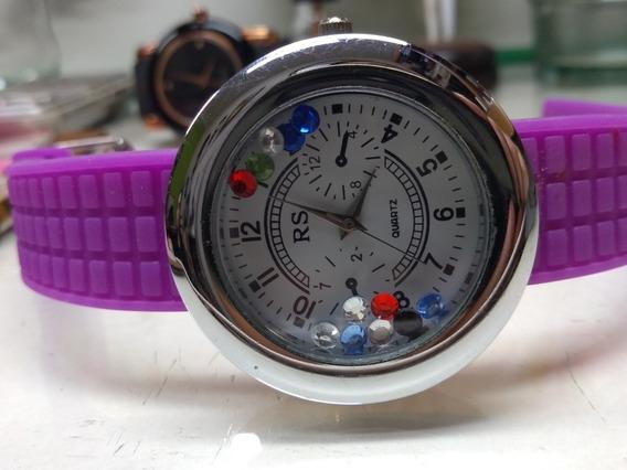 Relógio Rs Mostrador Branco Com Pedras Coloridas Dentro