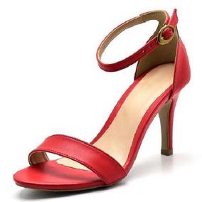 0052d80a7 Sandalia Salto Fino Tornozelo Vermelha - Sapatos com o Melhores ...