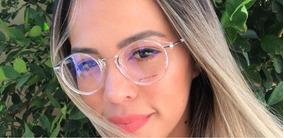 Óculos P/grau Acetato Transparente Feminino/man Retro Round