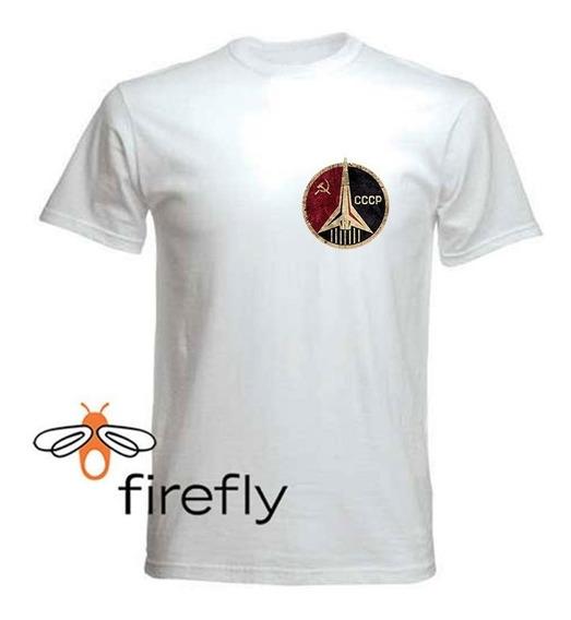 Remera Union Sovietica Cccp Space Hombre Blanco C. 1 Firefly