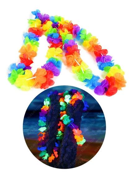 12 Collares Hawaianos Fluorecentes Neon Fiesta Luz Uv Negra