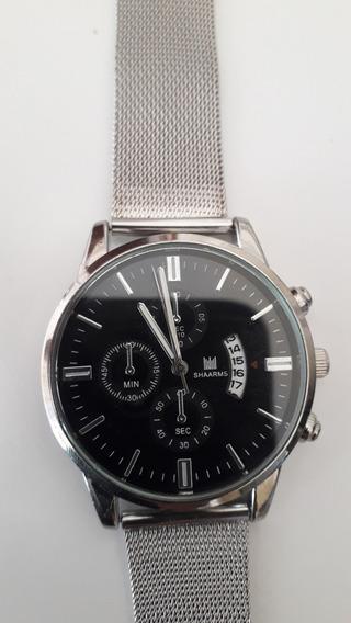 Relógio Masculino E Feminino De Pulso Shaarms Silver