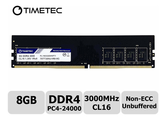 Memoria Ram 8gb Timetec Extreme Performance Hynix Ic Ddr4 3000mhz Pc4-24000 Cl16 1.35v Unbuffered Non-ecc Single Rank De