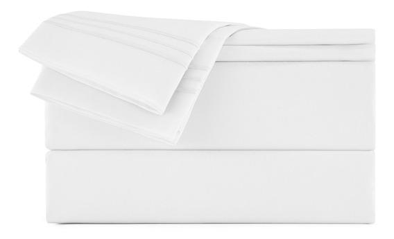 Jogo Lençol King - Begônia - Branco Liso Bordado Microfibra