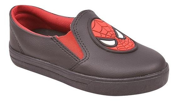 Tênis Infantil Slip On Menino Iate Super Heróis Homem Aranha Spider-man Ref 16202