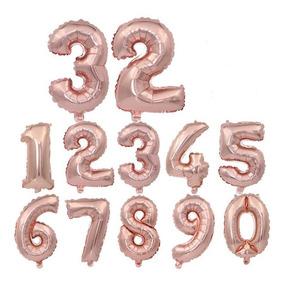 10 Balão Número Metalizado 70cm Dourado Rose Gold Festa Atac