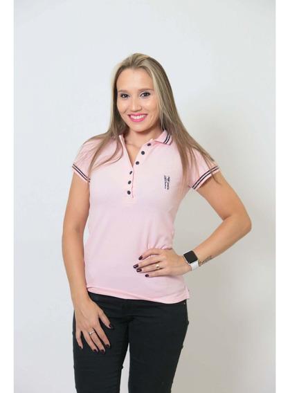 Camisa Polo Feminina Rosa Amor