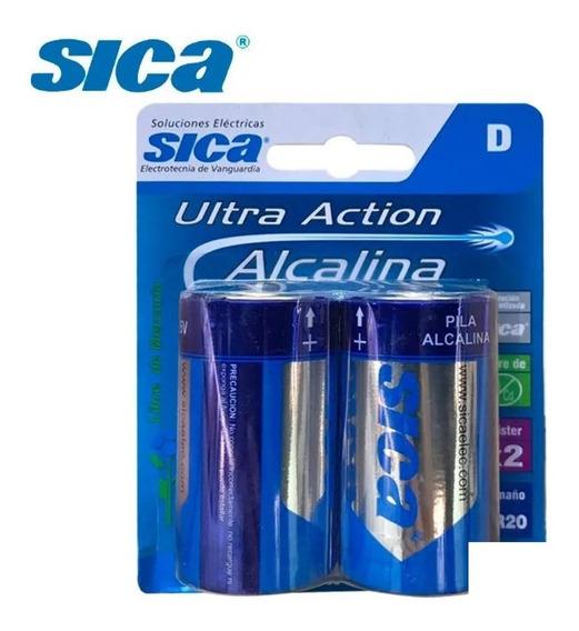 Pila Alcalina D Grande Blister X 2 Unidades Sica