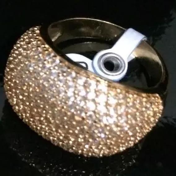 Anel Cravejado De Zirconia Semijoia Ouro 18k