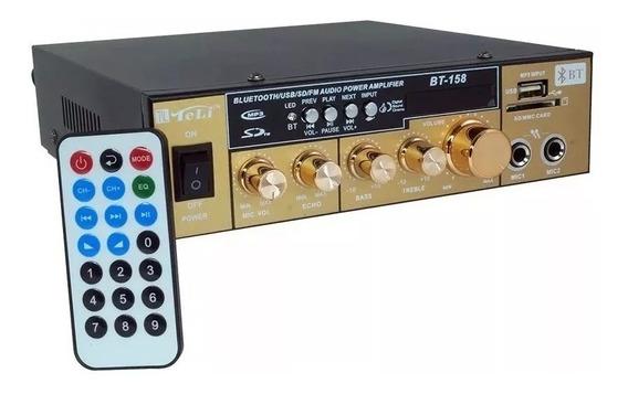 Amplificador Áudio Receiver Bluetooth Som Ambiente Fm Usb