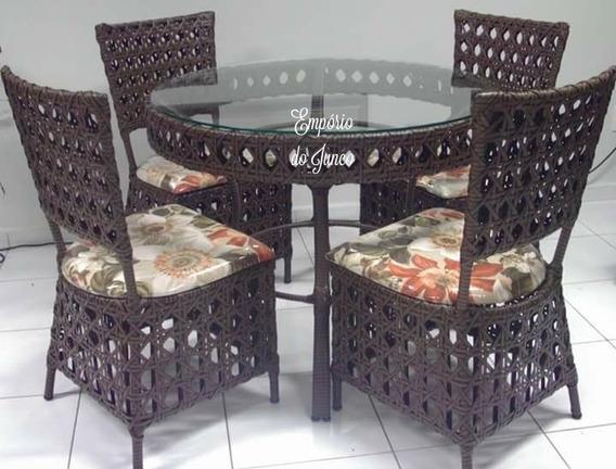 Mesa De Junco Com 4 Cadeiras. Vidro Nao Incluso