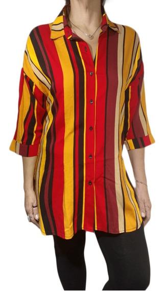 Camisa Mujer Larga Rayada Multicolor Manga 3/4 Fibrana