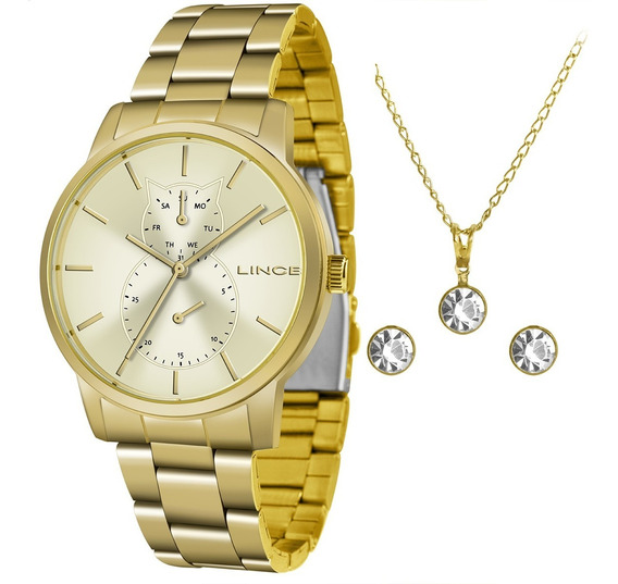 Relógio Lince Multifunção Feminino Lmgj086l C1kx + Kit + Nf
