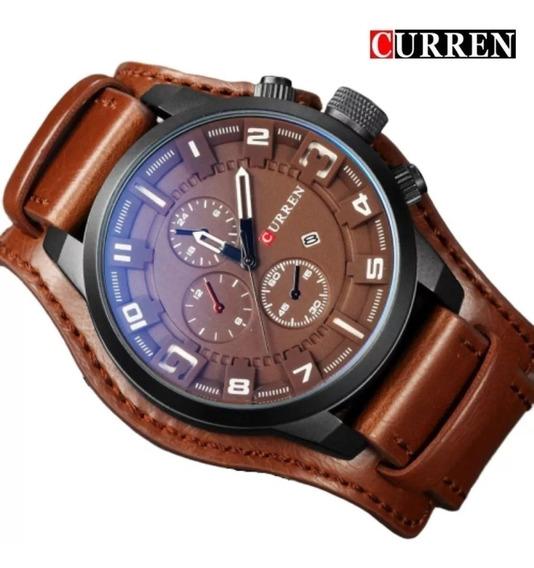 Relógio Masculino Curren Original Couro Casual E Social