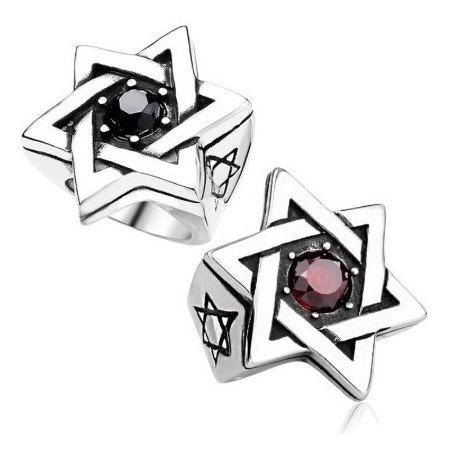 Anel Estrela De David Com Pedra - Inox - 2 Peças