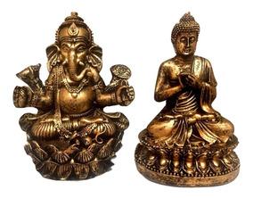 Estátua Buda + Estátua Ganesha Flor De Lotus Altar 15cm 081
