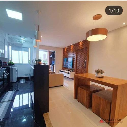 Apartamento Com 2 Dormitórios À Venda, 60 M² Por R$ 490.000,00 - Vila Alzira - Santo André/sp - Ap2002