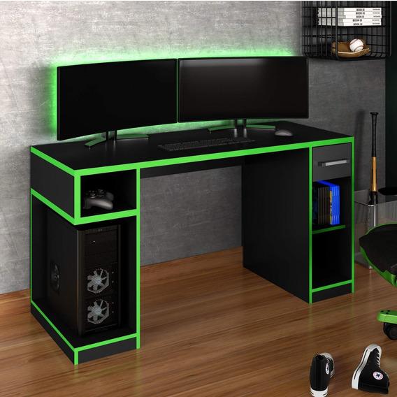 Mesa Gamer Idl Xp 1000 Pro Siena Móveis Black Verde Bb