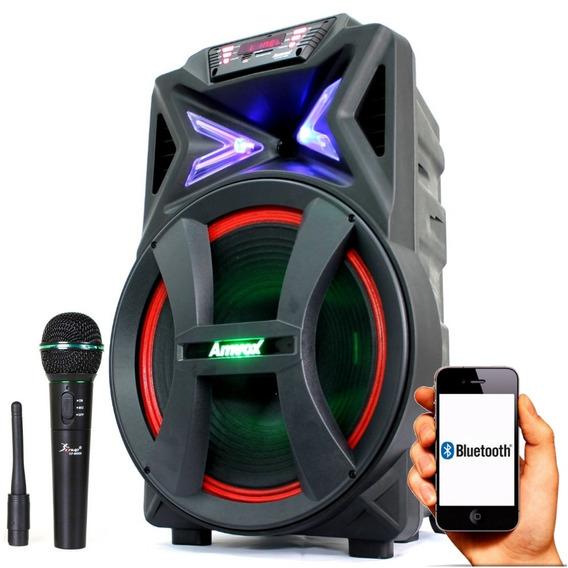 Caixa Som Bluetooth Churrasco Festa 500w Rms Amvox Microfone