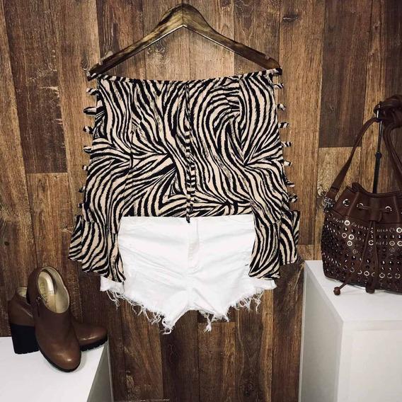 Blusa Ciganinha Manga Vazada Top Zebra Nude