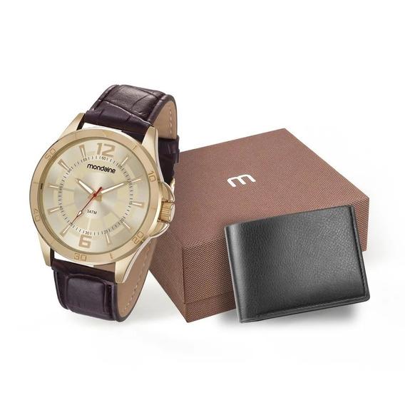Relógio Mondaine Masculino + Carteira Marrom 83374gpmvdh2k1