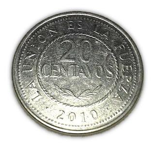 Moeda 20 Centavos Bolivianos - Bolívia 2010 Cédula Dinheiro
