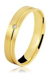 Par De Alianças Ouro 18k 6 Gramas + Diamante
