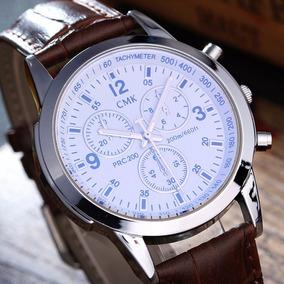 Relógio Luxo Masculino Cmk Pulso Social Pulseira Couro Promo