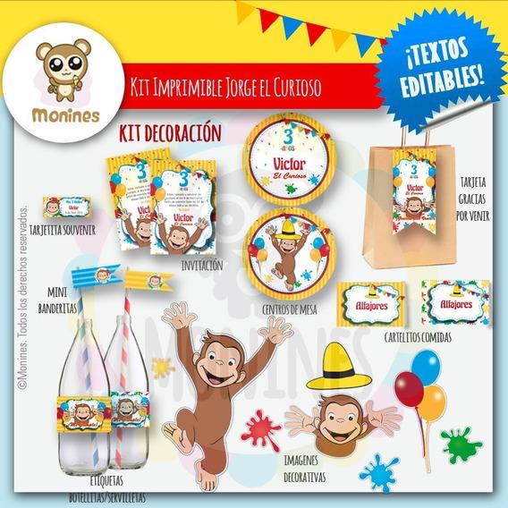 Kit Imprimible Jorge El Curioso (nenes) ¡textos Editables!