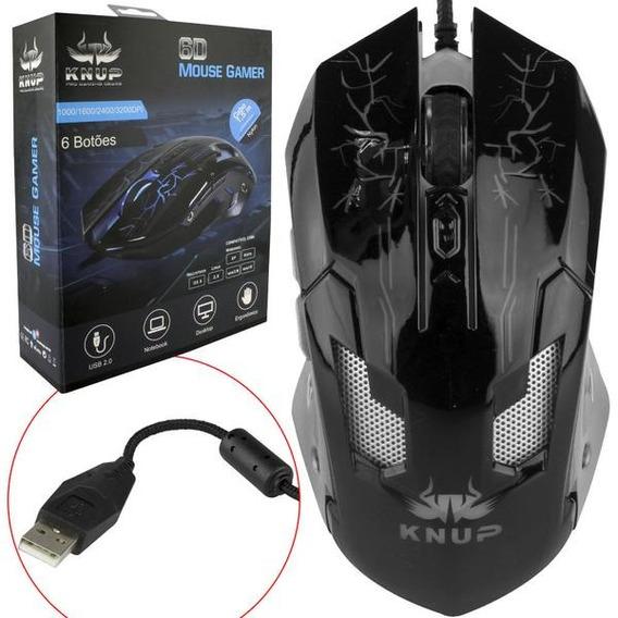 Mouse Com Fio 1,5m Gamer Usb Optico 3200dpi Knup V35 Bco/pto