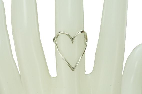 Anel Coração Vazado (d1,3) Prata 925