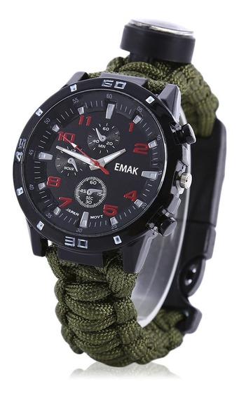 Relógio Tático Militar Fogo Paracord Pederneira Bussola 5x1*