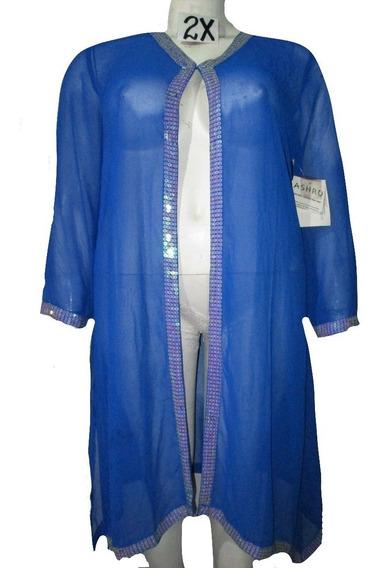 Cardigan Kimono Azul C/ Lentejuelas Talla 2x (38/40) Ashro