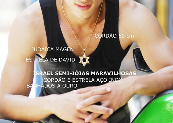 Israel - Cordão Aço Inox Banhado A Ouro Com Estrela De David