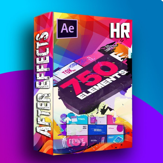 750 Elementos Template Editável After Efefcts Graphics Pack