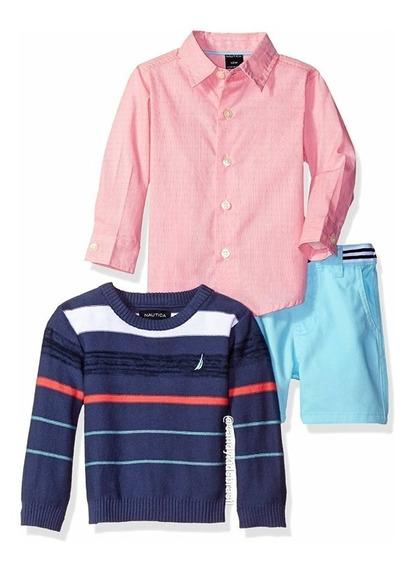 Nautica - Conjunto De Meninos 3 Peças Com Suéter