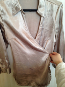 Camisa Feminina Transpassada Cetim P Champagne