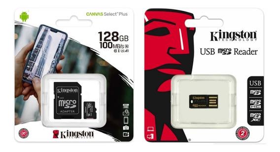 Kit Micro Sdxc 128gb Kingston Com Adaptador Sd E Leitor Usb