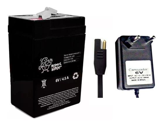 Kit 2 Baterias 6v 4,5ah + 1 Carregador Moto Elétrica Carro