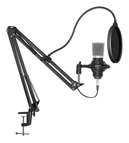 Micrófono Condensador Profesional Aux 3.5mm Antipop Redlemon
