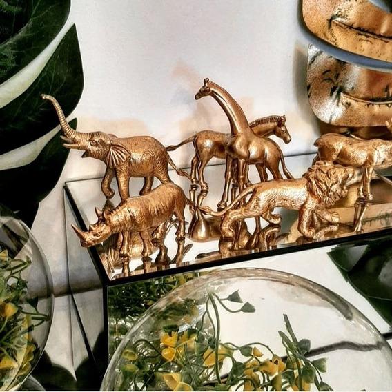 Set X6 Animalitos Dorados Zafari, Deco, Epoque Antiques