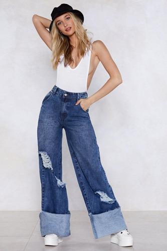 Pantalon Jeans Pata Elefante Gastado Tiro Alto Moda Mujer Mercado Libre