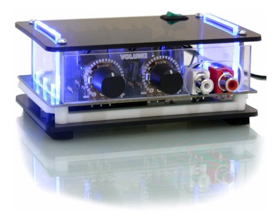 Mini Amplificador Som Ambiente Potencia Pc Caixa E Cabo Rca