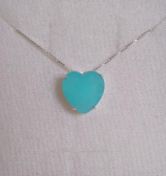 Colar De Prata 925 - Pingente De Coração Azul Claro Leitoso