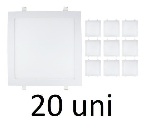 Kit 20 Painel Plafon Led 18w Quadrado Embutir Branco Frio
