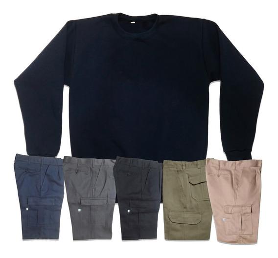 Pantalon Ombu Original Cargo Mas Buzo Azul De Frisa Promo