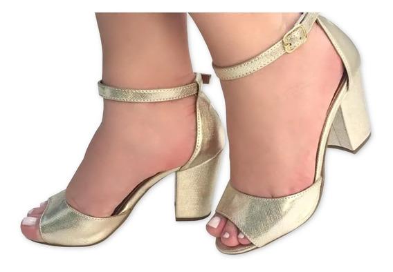 Sandalia Dourada Metalizada Salto Médio Alto Grosso Bloco