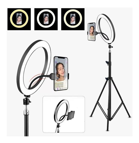 Ring Light Iluminação Led Foto Maquiagem 26cm + Tripé 1,6cm