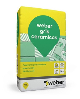 Pegamento Gris Cerámicas Weber 30 K Pared Piso Interior Mm